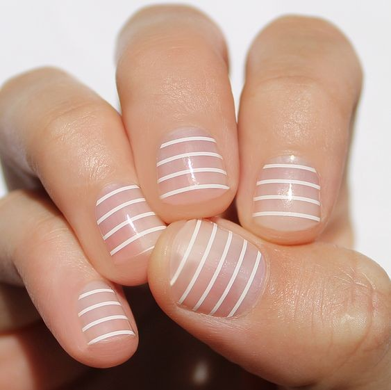 White Striped Nails