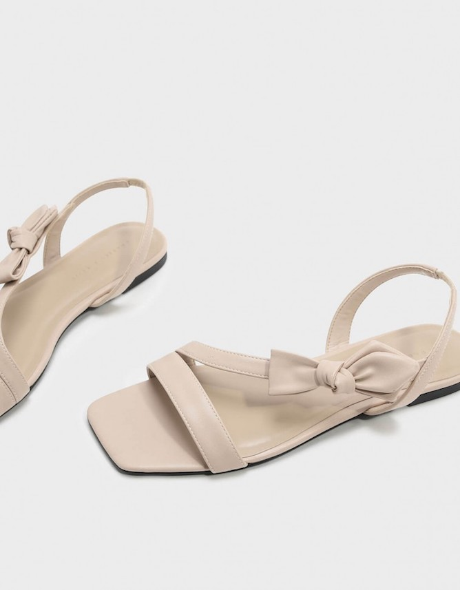 C&K Bow Detail Square Toe Sandal